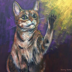 Tabby cat, beckoning good fortune by JennyJump