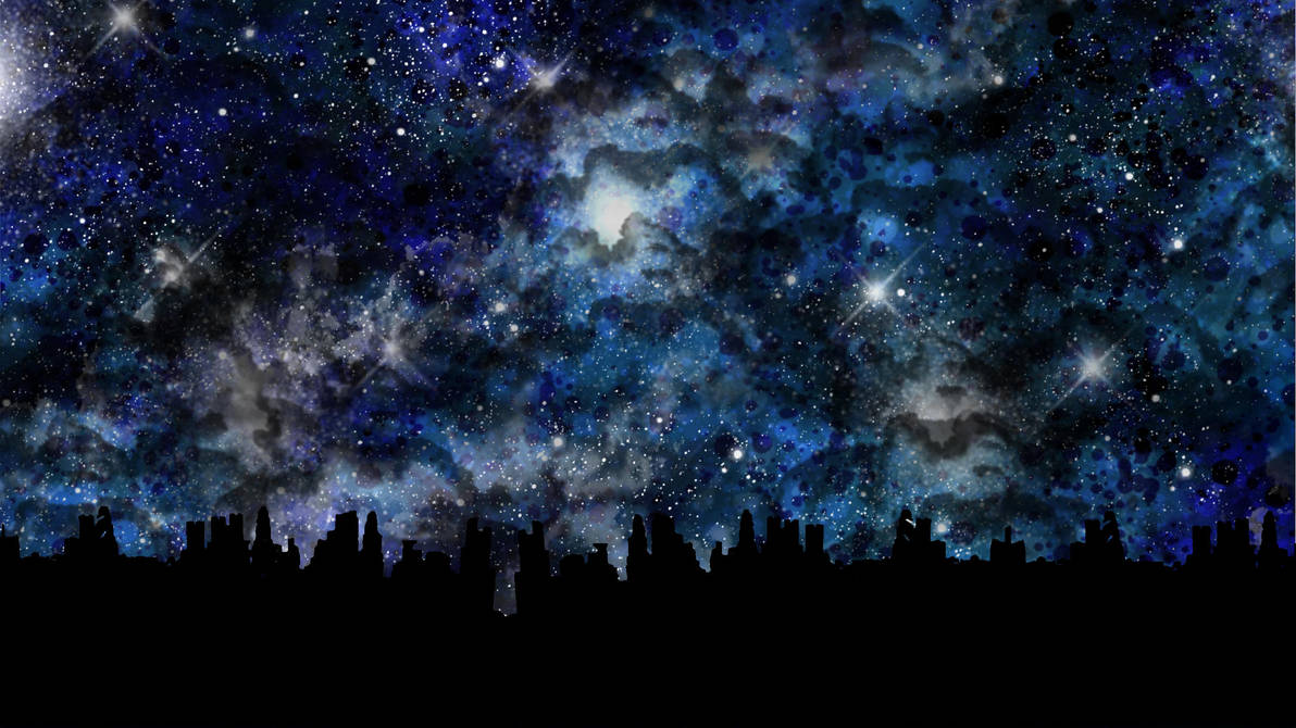 Clean: Starscape over a city by Kannas-Disguise