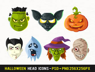 Free Halloween Head Icons by nelutuinfo