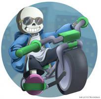 Sans on a Bike by smileystrashbag