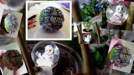 Owl Snow Globe - Collage (button) 4cm by MedeaSafir
