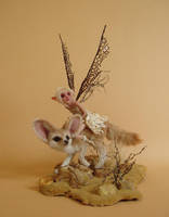 Desert Fox and Fairy Sculpture by pixiwillow