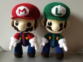 Mario and Luigi Sackboy by anjelicimp