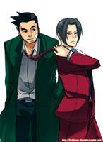 Gumshoe and Edgeworth by Rilakkumagi
