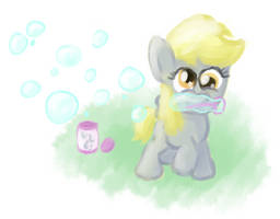 Filly Derpy Hooves with Bubbles by FoobWhisperer