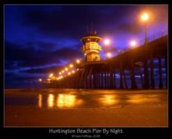 Huntington Beach Pier By Night by strangledbyart