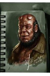 Oldman Hellboy portrait by rodreidizon