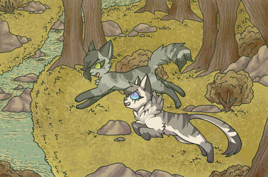 2 sisters run straight into a river by Please-i-love