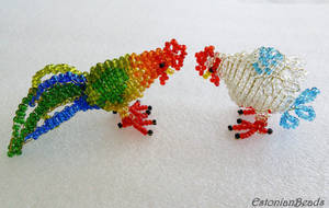 Beaded chicken and rooster by EstonianBeads