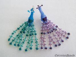 Beaded peacocks by EstonianBeads