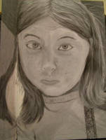 Self-portrait greyscale by bluecatqueen