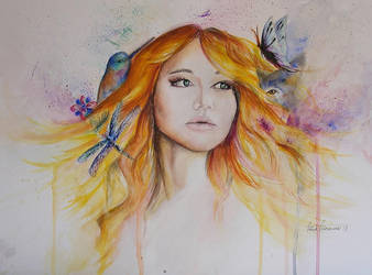 Jennifer Lawrence Painting by Halinka1803