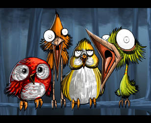 Four Calling Birds by ThePsychoGoat