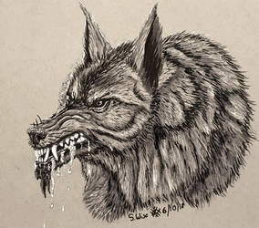 Inktober Day 6 Drooling: Werewolf by Glaiceana