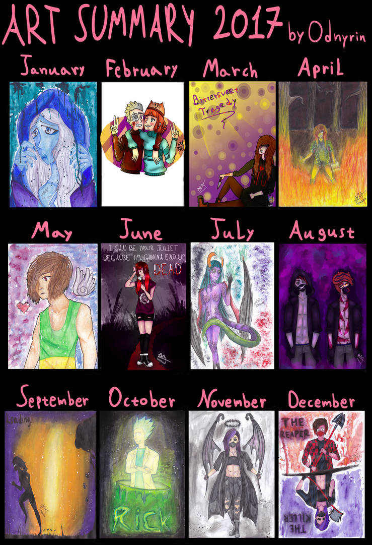 (one year late upload) MY ART SUMMARY OF 2017 by Odnyrin