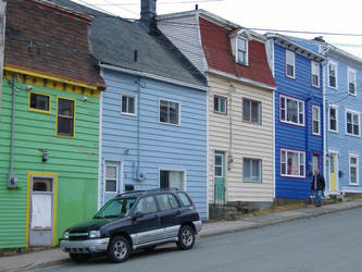 Colorful row houses 1 by tangledupinbrown
