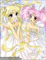 [Collab] Princess Serenity and Small Lady by amethyst-rose