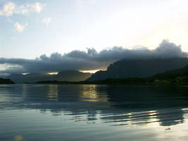 Sunset over a fjord by IGhengisKhanI