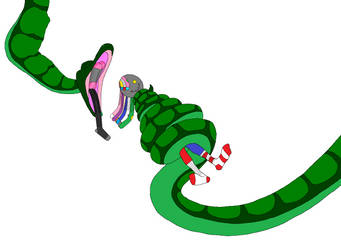 A Cartoon Snake Swallowing some Socks and Dolls by 685eric685