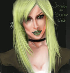 Jessica's portrait as SniperWolf by OneWingedSoul