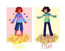 Frisk and Chara by almostbread
