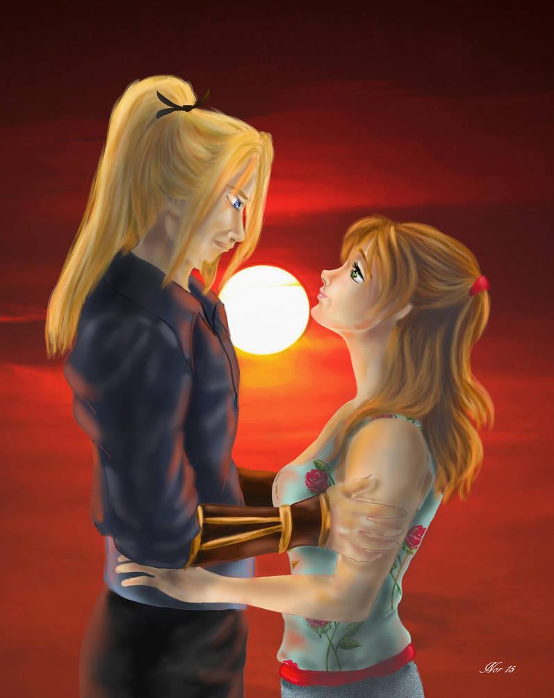 Allen and Hitomi  [Escaflowne project] by Midori-ossan