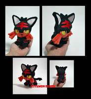 Pokemon - Tiny Litten custom plush OOAK ebay sale by KitamonPlush