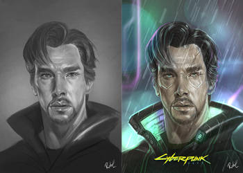CyberPunk 2077 Fan art - Doctor Strange by RobertCrescenzio