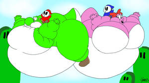 Shy Guys Yoshiloon and Birdoloon race by Joe-Awesome93