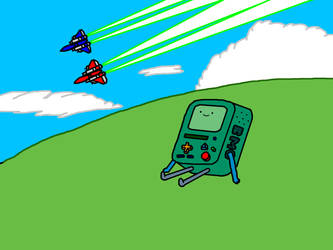 Raiden Mk. II fighters and BMO (Adventure Time) by PlayboyCommando