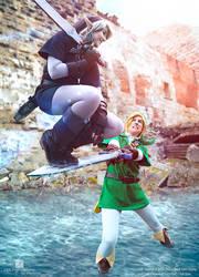 Mastersword Jump - Link vs Dark Link Cosplay by Evil-Siren