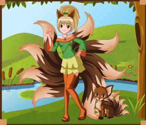 Mia Rokos the Kitsune - Human Form and Fox Form by SassyDragon18
