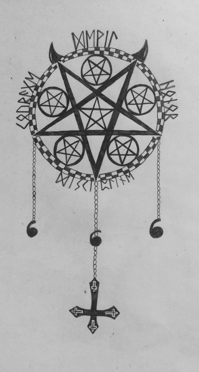Satanistic Pentagram Tattoo Design By Scarletfenrirx On Deviantart