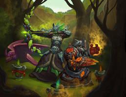 Orc hunter and panda shaman by VanHarmontt