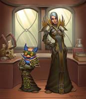 Gnome Warlock and human mage by VanHarmontt