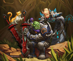 Orc warrior and Belf Priest and cat by VanHarmontt