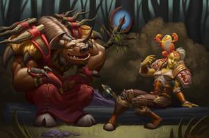 Tauren Druid, Orc Shaman and Murloc pet by VanHarmontt