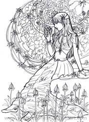 Flower girl lineart WIP by serpentdoness