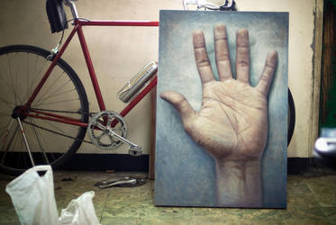 self portrait: left hand by 413