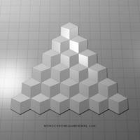 pyramid of cubes by monochromeandminimal