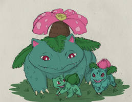 Sketch-a-day Day 7: Bulbasaur Ivysaur Venusaur by TheRecurrent