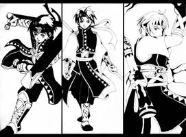 Riou,Tir and Freyjadour in Queen's Knight uniform by HikariShuyo