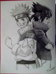 Naruto and Sasuke by obsessive-fan-girl
