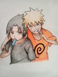 Naruto and Sasuke - Kids by obsessive-fan-girl