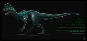 Ampliscate Dilophosaurus (Subject S1R3N) by KamikaziTeddy