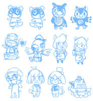 Animal Crossing sketches by CaptainLemmo