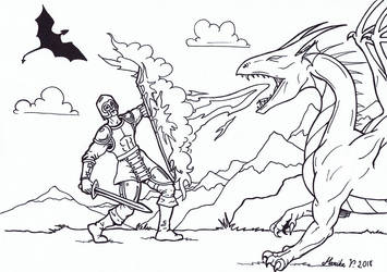 Colouring Picture - Dragon slayer by YikYik
