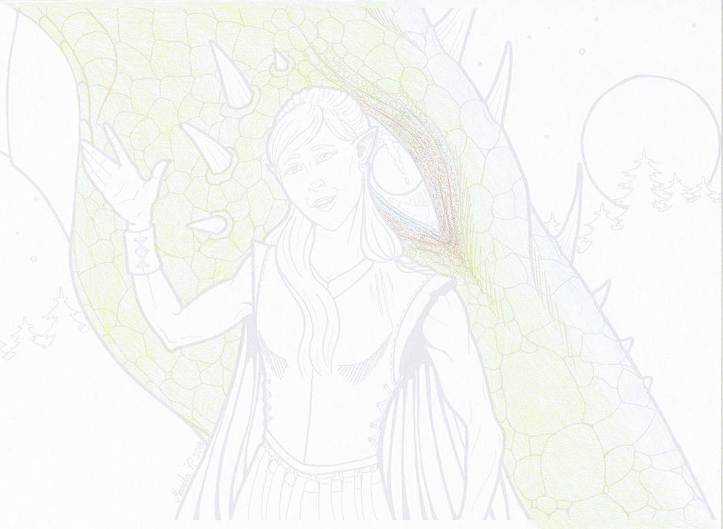 Dragon Girl Colour WIP1 by YikYik