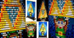 Illuminated Mosaic LEGO Link and Triforce Portrait by VonBrunk