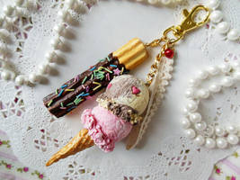 Double Scoop Ice Cream Bag Charm by KeoDear